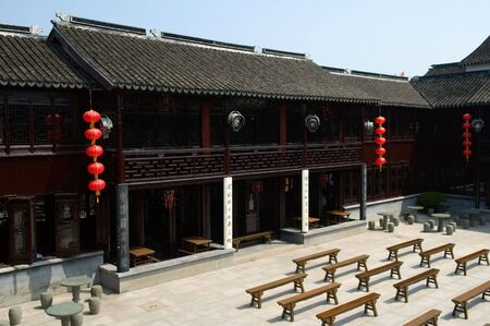 zhouzhuang: The architecture structure of Chinese theater, in zhouzhuang Stock Photo