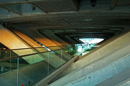 overbridge: The design architecture of modern train (subway) station Stock Photo