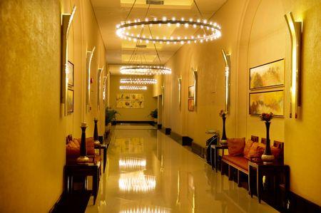 Long hallway (corridor) of construction photo