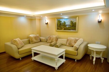 Living room of luxury modern house photo