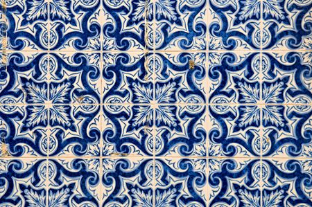 portuguese: The abstract pattern of Portuguese painted tiles with interesting designs