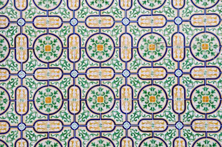 The abstract pattern of Portuguese painted tiles with interesting designs photo