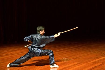 shu: MACAU - APRIL 25: The man performing Chinese kung fu (wu shu), April 25, 2009, Macau Editorial