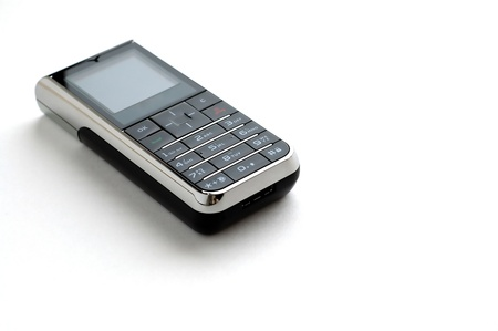 touchtone: A modern mobile phone with white background