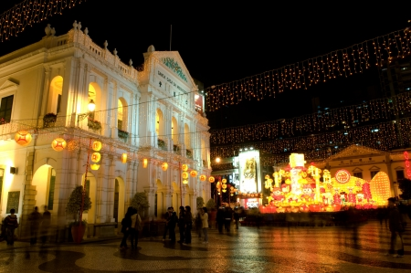 laterns: The santa casa de misericordia in the senado square in Macau, with decoration laterns