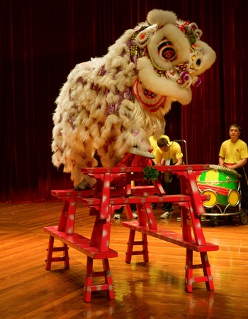 MACAU - APRIL 25: The traditional Chinese lion dance on stage, April 25, 2009, Macau