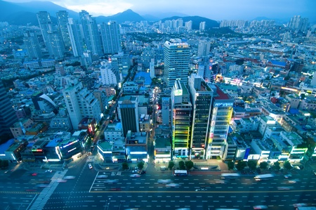 The evening of Busan city viewed from high position
