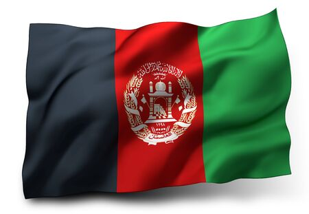 afghan flag: Waving flag of Afghanistan isolated on white background