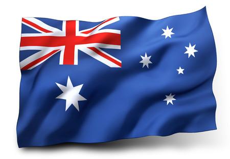 Golvende vlag van Australië op een witte achtergrond Stockfoto