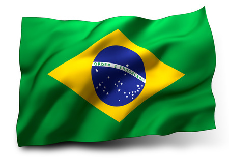 Waving flag of Brazil isolated on white background Stok Fotoğraf
