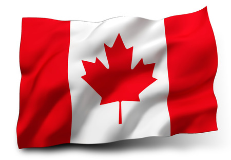 canadian state flag: Waving flag of Canada isolated on white background Stock Photo