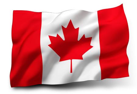 Waving flag of Canada isolated on white background Standard-Bild