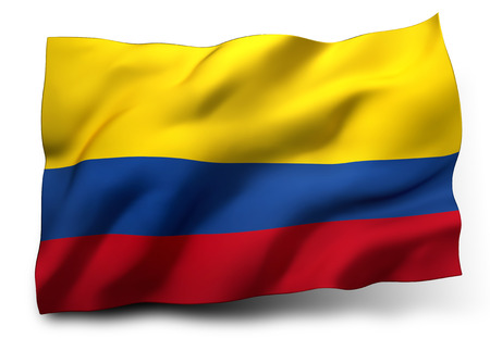 Waving flag of Colombia isolated on white background