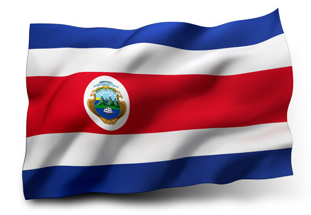 costa rica flag: Waving flag of Costa Rica isolated on white background Stock Photo