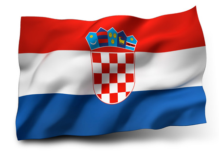 bandera de croacia: Ondeando la bandera de Croacia aislado en el fondo blanco Foto de archivo