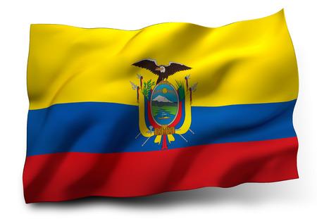 ecuadorian: Waving flag of Ecuador isolated on white background