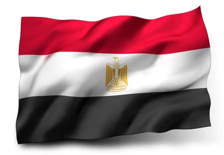 bandera de egipto: Ondeando la bandera de Egipto aislado en fondo blanco
