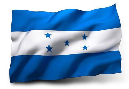 bandera honduras: Ondeando la bandera de Honduras aislado sobre fondo blanco