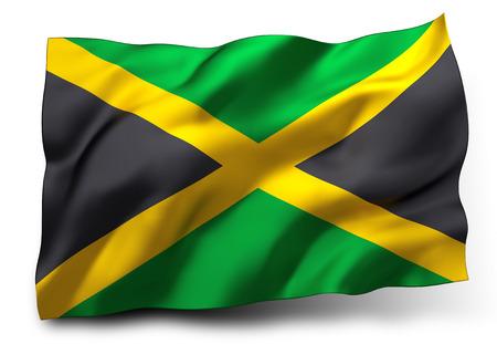 Waving flag of Jamaica isolated on white background photo