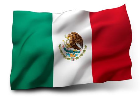 bandera de mexico: Ondeando la bandera de México aislado sobre fondo blanco