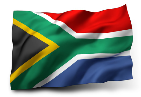 Waving flag of South Africa isolated on white background