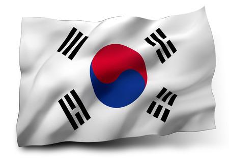 Waving flag of South Korea isolated on white background photo