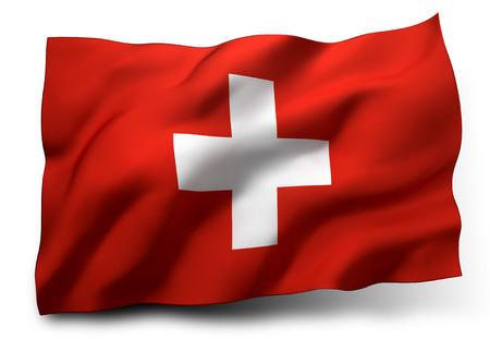 switzerland flag: Waving flag of Switzerland isolated on white background