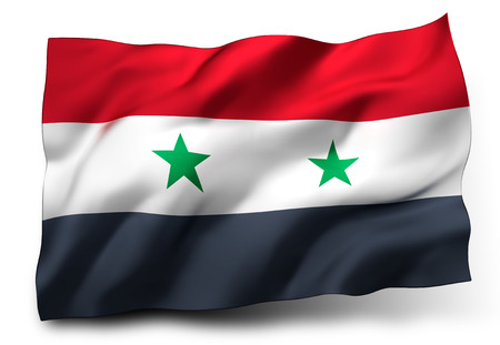 incumbent: Waving flag of Syria isolated on white background