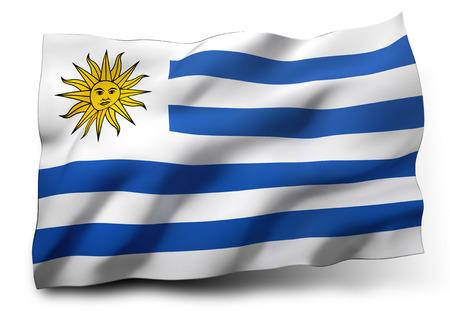 Agitant le drapeau de l'Uruguay isolé sur fond blanc Banque d'images
