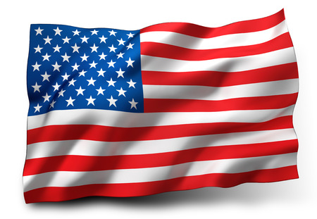 continente americano: Ondeando la bandera de los Estados Unidos aislado en fondo blanco