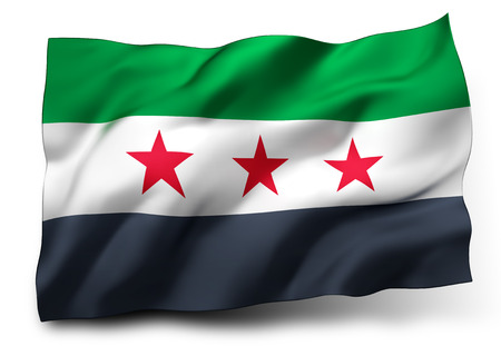 coalition: Waving flag of Syria isolated on white background