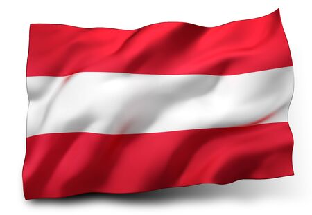eec: Waving flag of Austria isolated on white background