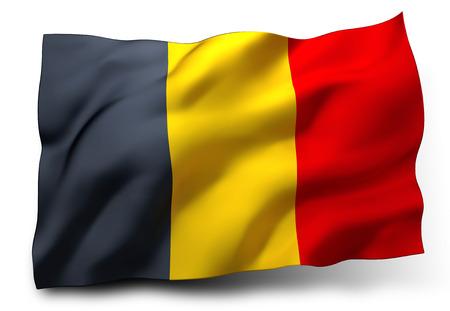 Waving flag of Belgium isolated on white background