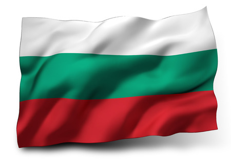 eec: Waving flag of Bulgaria isolated on white background