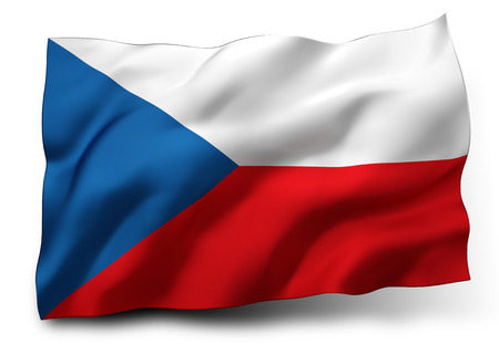 eec: Waving flag of Czech Republic isolated on white background Stock Photo