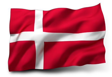 white background: Waving flag of Denmark isolated on white background