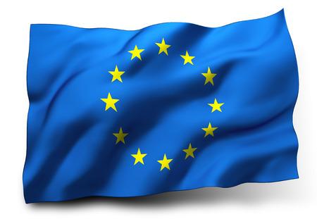 european economic community: Waving flag of Europe isolated on white background