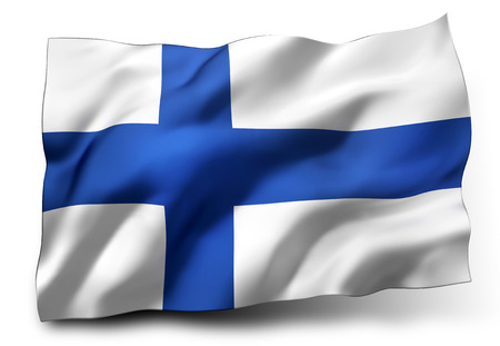 eec: Waving flag of Finland isolated on white background