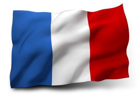 Golvende vlag van Frankrijk op een witte achtergrond
