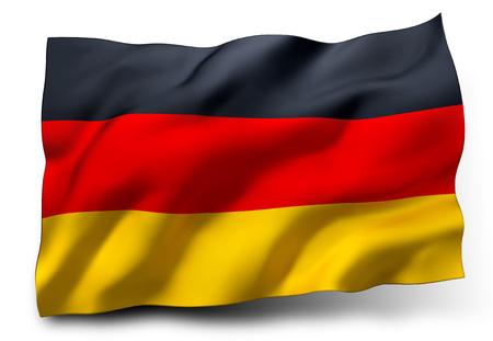Waving flag of Germany isolated on white background
