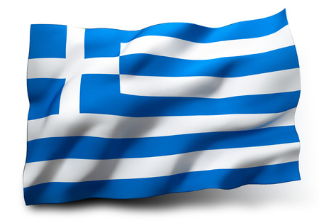 greece flag: Waving flag of Greece isolated on white background Stock Photo