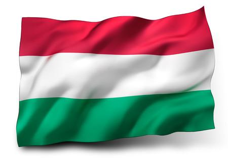 eec: Waving flag of Hungary isolated on white background Stock Photo