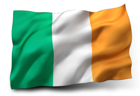 Waving flag of Ireland isolated on white background Banque d'images