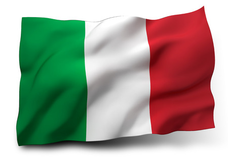 Waving flag of Italy isolated on white background 스톡 콘텐츠