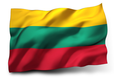 eec: Waving flag of Lithuania isolated on white background