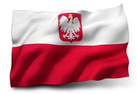 polish flag: Waving flag of Poland isolated on white background Stock Photo