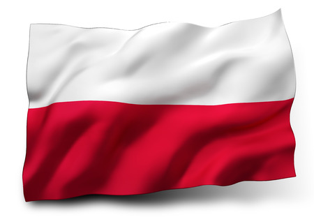 Waving flag of Poland isolated on white background Zdjęcie Seryjne