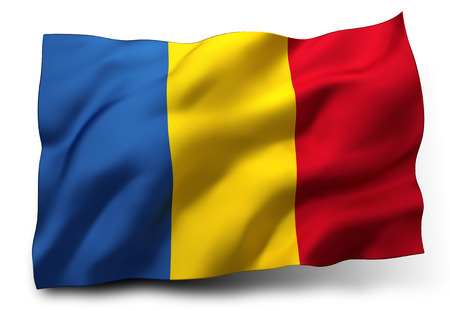 Waving flag of Romania isolated on white background