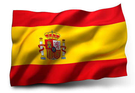 Waving flag of Spain isolated on white background Фото со стока