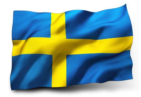白い背景に分離されたスウェーデンの旗を振っています。